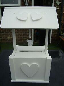 "Wooden Wedding wishing well post box 4 sale with bucket free post in uk"""