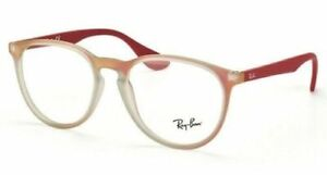 RAY-BAN AUTHENTIC MATTE RED GREY ROUND FRAME EYEGLASSES RB 7046 5485 51-18 140
