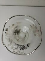 """Vtg Silver Floral Overlay & Trim Glass Pedestal Candy Dish 6.25"""" W Uneven Edge"""