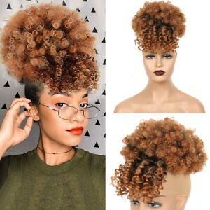 Kinky Curly Bun with Bangs Clip in Hairpiece Afro Puff Ponytail Hair Extensions