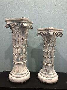 "Pair Of Shabby, Coastal, Farmhouse chic Column Candle Holders Fits 3"" Candles"
