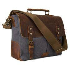 """14"""" Laptop Briefcase Shoulder Messenger Bag Satchel Tote Canvas Genuine Leather"""