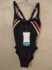 NWT AQUA SPHERE Size 32 6 Black Pink One Piece Swim Team Ski Surf Swimsuit