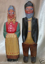 "THORNGREEN A/S WOOD CARVED MAN & WOMAN PRIMITIVE TRADITIONAL DRESS 6.75"" DENMARK"