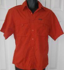 Mens Fishing Shirt COLUMBIA TITANIUM Small Short Sleeved Vented Rust