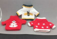 "Build A Bear Doll Sweater Lot 3 Winter Snowman, Snowflake, Bumble Bee 5"" x 4 1/2"