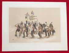 The Snow Shoe Dance,George Catlin,Lithograph Limited Edition Handcolored