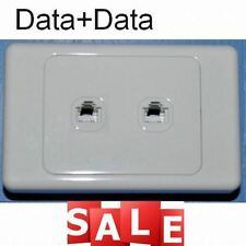 DUAL DOUBLE ETHERNET DATA INTERNET SOCKET OUTLET SOCKET WALL PLATE RJ45 CAT6
