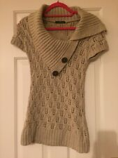 Jane Norman Cream stud front cable knit jumper top UK 8-10