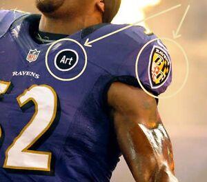 "NFL 2000 SUPER BOWL XXXV CHAMPION BALTIMORE RAVENS ""ART"" + SHOULER JERSEY PATCH"