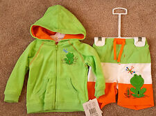 NWT Boy's Size 6-9 M Months Absorba 2 Pc Green Terry Frog Jacket & Swim Trunks