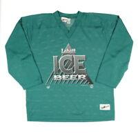 Vintage Eishockey Trikot Größe L Hockey Shirt Langarm Sport Jersey Grün