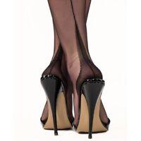 NEW GIO Fully Fashioned Point Heel Seamed Nylon Stockings Black size 9.5 Medium