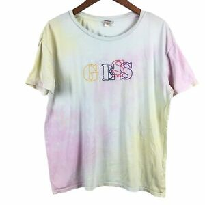 Vintage Guess Jeans T-Shirt Large Tie Dye Embroidered Logo Short Sleeve Women's
