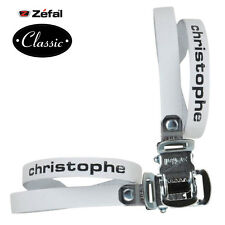 ZEFAL WHITE LEATHER PAIR TOE STRAPS CLIPS CHRISTOPHE PEDAL BIKE VINTAGE SHOES