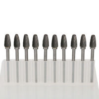 "1/8"" Shank Tungsten Carbide Burr Rotary Files Set Drill Bits Cutter Tool 10Pcs"