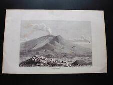 Gravure noir et blanc 19°:  l'Etna (Italie en Sicile)