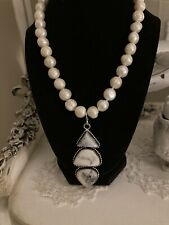 Authentic White Buffalo Turquoise And South Sea Pearl Necklace