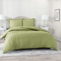 Duvet Cover Set Soft Brushed Comforter Cover W/Pillow Sham, Sage - Queen