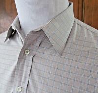 VTG BURBERRYS OF LONDON Mens 16/35 Gray Blue Check L/S Button Front Shirt USA