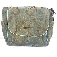 Petunia Pickle Bottom Boxy Backpack Diaper Bag Damask Chenille Blue Brown Damask