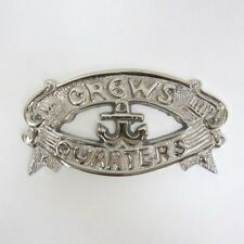 "Chrome Plated ""Crews Quarters"" Door Sign ~ Nautical Maritime ~ Boat Ship Decor"