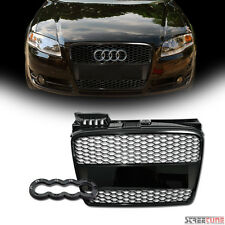 Black RS-Honeycomb Mesh Front Bumper Grill Grille+Logo Base 05/06-08 Audi A4 B7