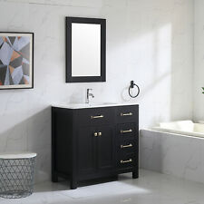 "Undermount Ceramic Shaker 36"" Single Bathroom Vanity Set & Mirror Free Standing"
