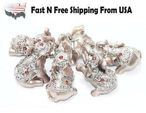 Set of 6 Pinky Rose Gold Lucky Elephants Statues Feng Shui Figurine Home Decor