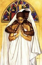"African American Black Art Print ""PRAY TOGETHER, STAY TOGETHER (MEDIUM)"" by Wak"
