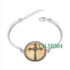 Easter Cross glass cabochon Tibet silver bangle bracelets wholesale