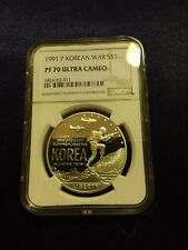 1991 P Korean War $1 Silver Coin NGC PF 70 UCAM [low pop - 89]