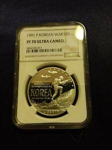 1991 P Korean War $1 Silver Coin NGC PF 70 UCAM [low pop - 89]