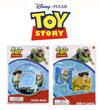 "Disney Toy Story Buzz Lightyear & Woody Pool Arm Floats + 20"" Swim Ring Tube Toy"