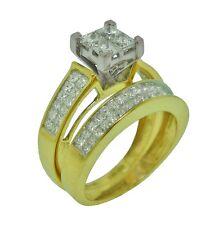 2ct Princess Cut Invisible Set Diamond Wedding Ring Set in 14K 2-Tone Gold