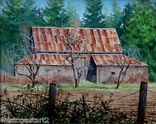 James Bowes 1996 Bridgeman Barn Acrylic Landscape Painting Canadian Listed