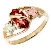 10K Black Hills Gold Ladies Ring with Garnet Size 4 -11