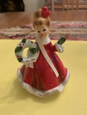 Vintage Josef Originals Christmas Girl With Wreath Figurine