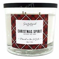 Scentsational Natural Soy Blend 26oz Cotton 3 Wick Candle Jar - Christmas Spirit