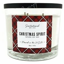 Scentsational Natural Soy Blend 26oz Cotton 3 Wick Candle Jar - Christmas Spirit