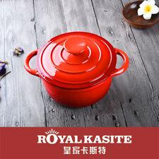 Red Cast Iron Casserole Round 22cm porcelain Enamel Pot Dutch Oven pan