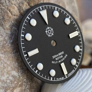"Yobokies ""Black Bay"" Dial Black with Silver for Seiko SKX SNZH NH35 ~ US Seller"