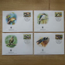 LOT TIMBRES 4 FDC WWF ANIMAUX OISEAUX COOK  / WWF STAMPS FDC ANIMALS BIRDS