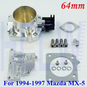 "Billet 2.5"" 64mm Throttle Body For 1994-1997 Mazda Miata MX-5 1.8L BP-ZE SILVER"