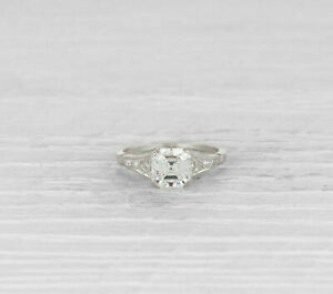2Ct White Asscher Cut Diamond Vintage Engagement Ring Solid 925 Sterling Silver