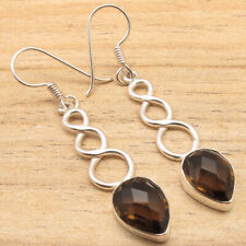 Real Smoky Quartz Gems Jewelry Large Earrings Brown ! 925 Silver Plated