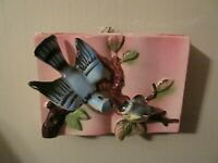 Vintage Pink Ceramic Wall Pocket with Blue Jay and Baby Blue Jay on a Limb Japan