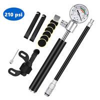 Bicycle Pump W/ Gauge High Pressure Meter Shock Hand Bike Air Inflator Puncture
