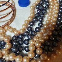 Long Glass Peach & Blue Pearl Bead Necklaces & Matching Rose Gold Bracelets LOT