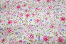 """Pink and purple Flower Cotton Fabric 62"""" width,1meter,diy clothing,bedding"""